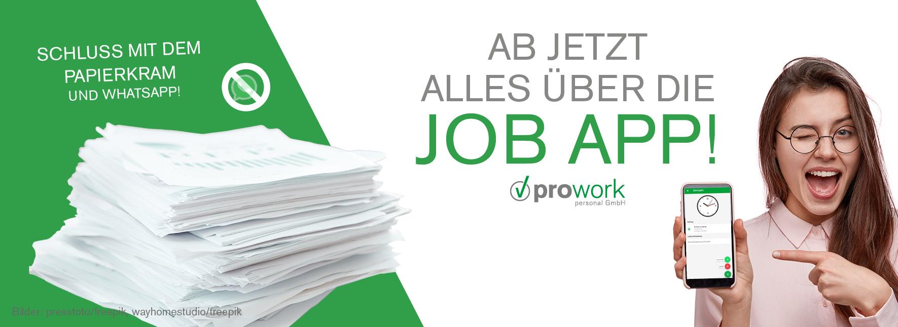 Nutzung der Job App bei prowork personal