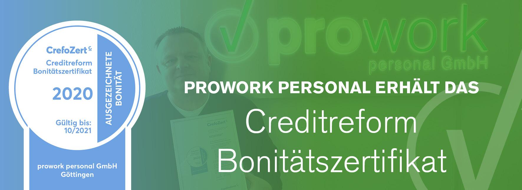 prowork personal erhält erneut das Creditreform Bonitätszertifikat